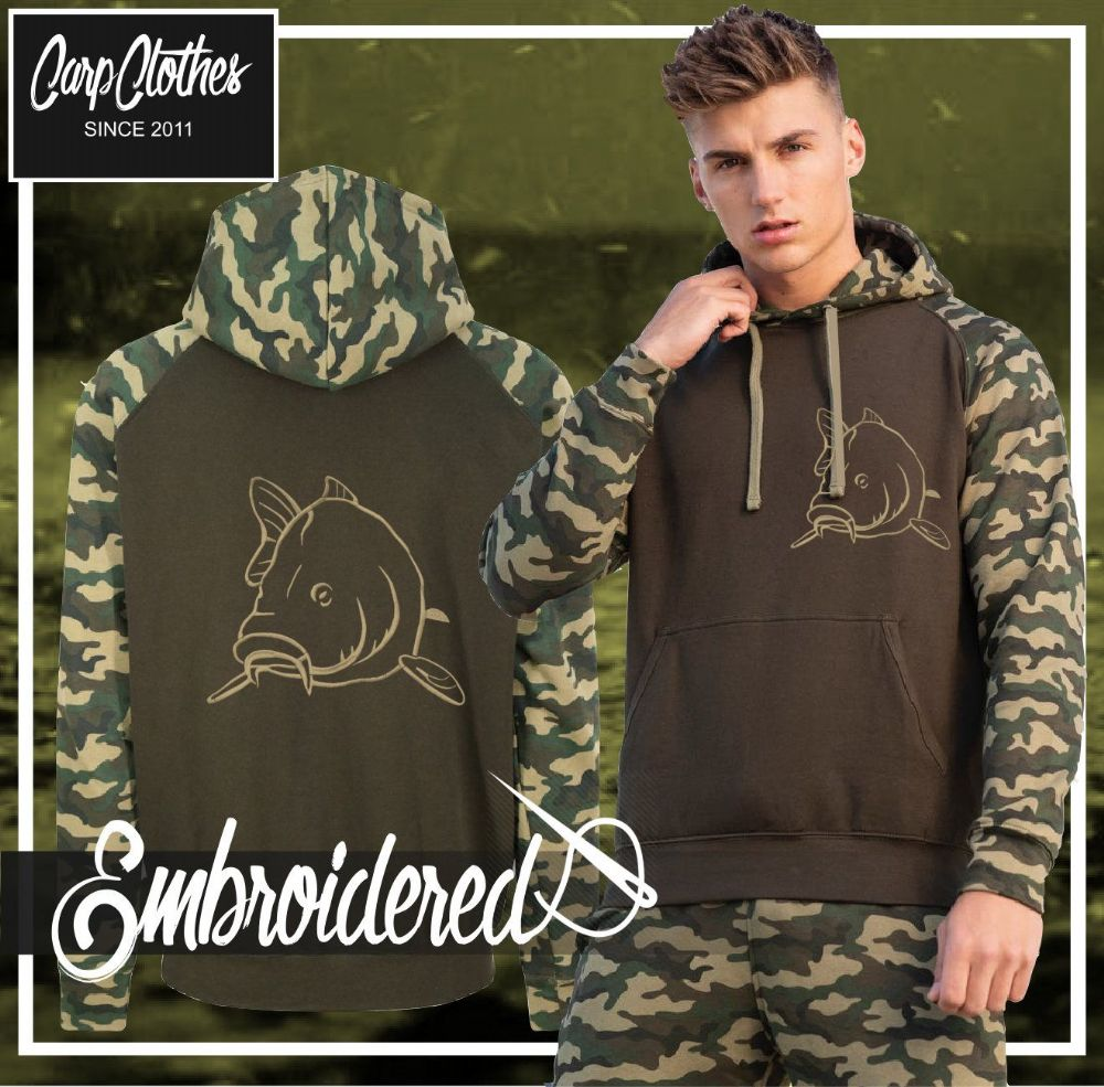 004 EMBROIDERED CONTRAST CAMO CARP HOODIE